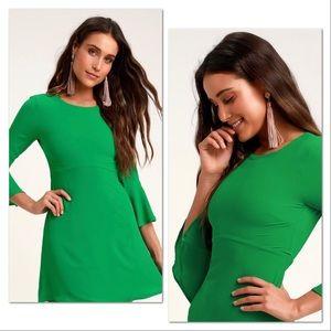 Center of Attention Green Flounce Sleeve Dress